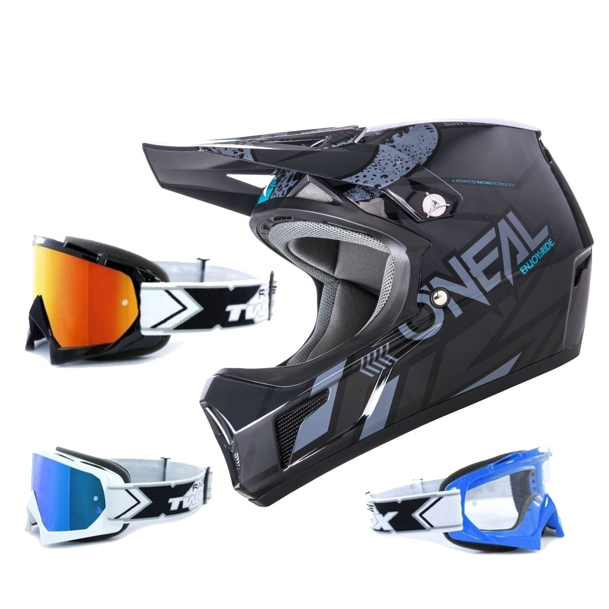 oneal sonus strike mtb helm schwarz grau mit two x brille. Black Bedroom Furniture Sets. Home Design Ideas