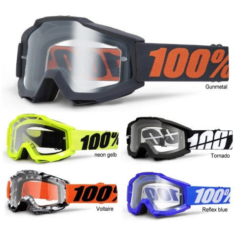 100% Crossbrille Accuri klar in Schwarz, Orange, Blau, Grau, Neongelb, Weiß