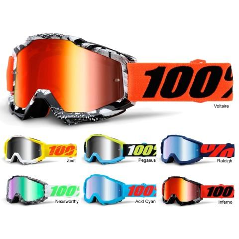 100% Crossbrille Accuri verspiegelt 16 in Blau, Orange, Schwarz, Gelb, Rot, Blau, Neongelb, Weiß