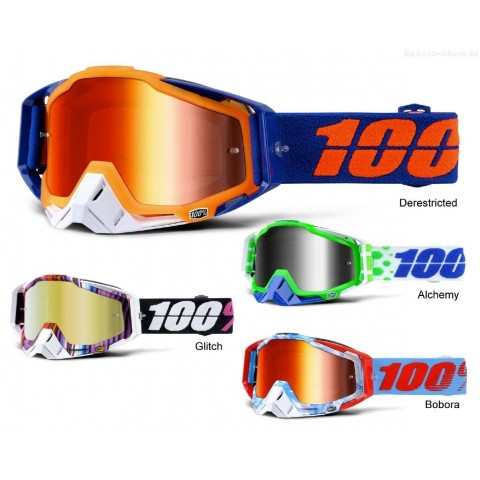 100% Crossbrille Racecraft verspiegelt 16 in Orange, Blau, Grün, Bunt
