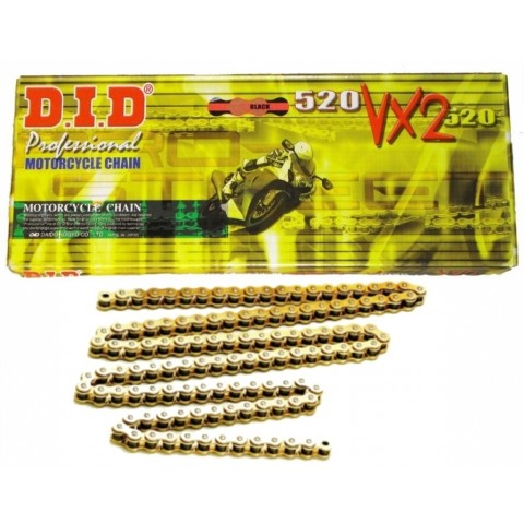 Motoradkette von DID gold Motocross Kette, Enduro Kette, 520er X-Ring Kette, Offroad Kette