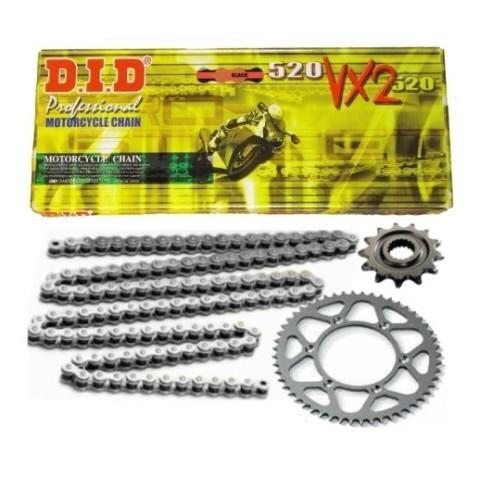 Kettensatz von DID schwarz Motocross Kettensatz, Enduro Kettenkit, 520er Kettensatz, MX Kit