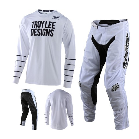 Troy Lee Designs GP Air Pinstripe Combo schwarz weiss MX Jersey Crosshose