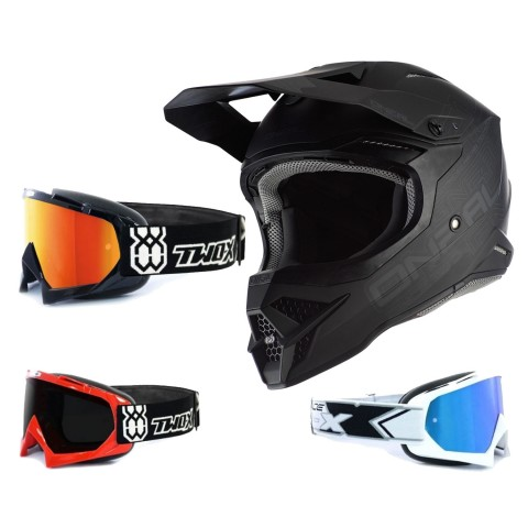 Oneal 3Series Crosshelm Flat 2.0 schwarz mit TWO-X Race Brille