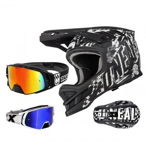 Oneal Blade Rider Downhill Helm schwarz weiss mit TWO-X Rocket Brille