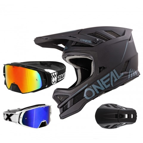 oneal blade downhill helm matt schwarz mit two x rocket. Black Bedroom Furniture Sets. Home Design Ideas