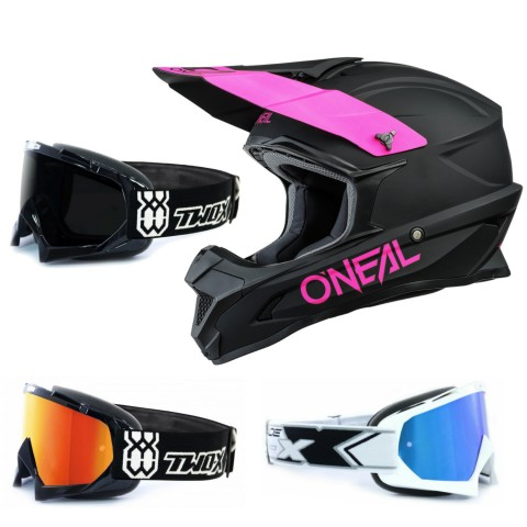 Oneal 1Series Crosshelm Solid schwarz pink mit TWO-X Race Brille