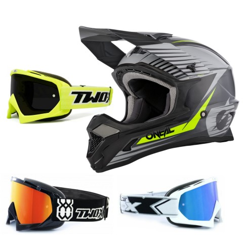 Oneal 1Series Crosshelm Stream grau mit TWO-X Race Brille