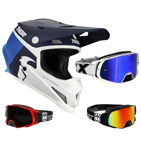 Thor Sector Crosshelm Racer blau weiss inkl. TWO-X Rocket Crossbrille