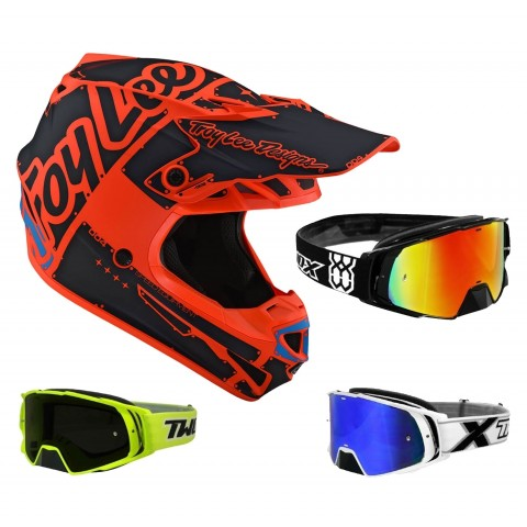 Troy Lee Designs SE4 Factory Crosshelm orange mit TWO-X Rocket Crossbrille
