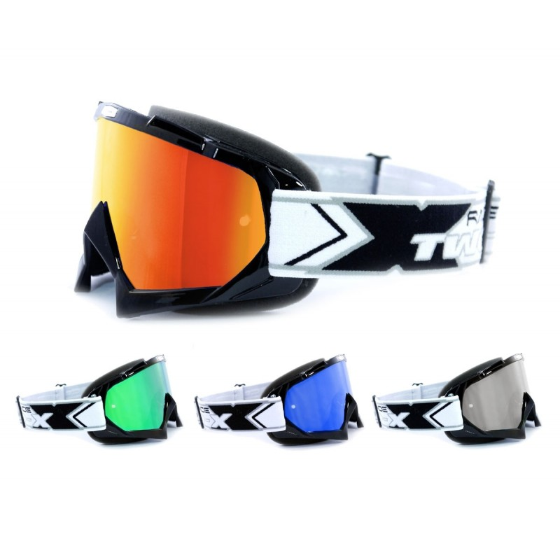 TWO-X Race Crossbrille Enduro MX Brille Cross Motocross silber verspiegelt Solid