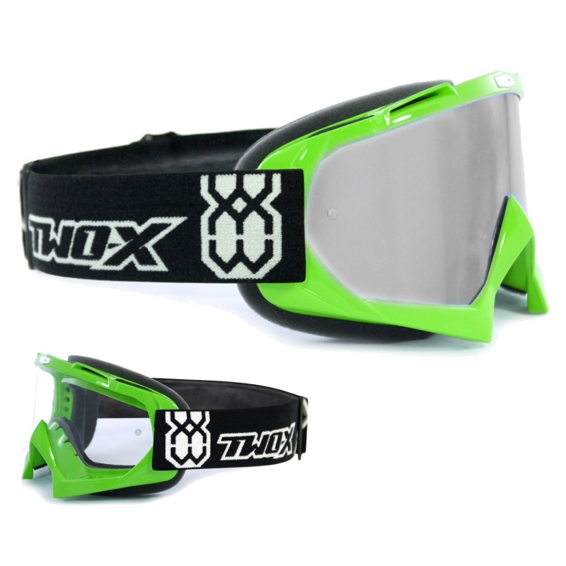 TWO-X Crossbrille RACE MX Enduro Quad Motocross Brille Downhill klar verspiegelt