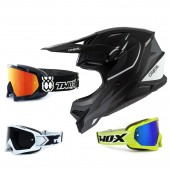 Oneal 3Series Crosshelm Riff 2.0 schwarz grau mit TWO-X Race Brille