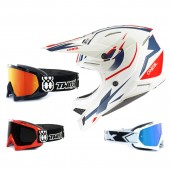 Oneal 3Series Crosshelm Riff 2.0 weiss blau mit TWO-X Race Brille
