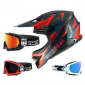Oneal 3Series Crosshelm Triz rot grün mit TWO-X Race Brille
