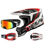 Oneal Blade Carbon IPX Downhill Helm weiss mit TWO-X Rocket Brille