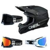 Oneal 1Series Crosshelm Solid schwarz mit TWO-X Race Brille