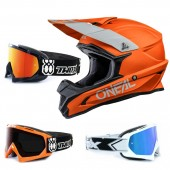 Oneal 1Series Crosshelm Solid orange mit TWO-X Race Brille
