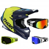 Thor Sector Crosshelm Blade blau neon inkl. TWO-X Rocket Crossbrille
