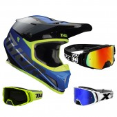 Thor Sector Crosshelm Fader blau weiss inkl. TWO-X Rocket Crossbrille