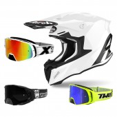 Airoh Twist 2.0 Color Crosshelm weiss mit TWO-X Rocket Crossbrille