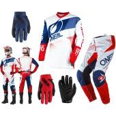 Oneal Element Factor Combo weiss blau rot Hose Shirt Handschuhe
