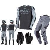 Oneal Mayhem Hexx Combo grau schwarz Hose Shirt Handschuhe