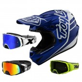 Troy Lee Designs GP Silhouette Crosshelm weiss blau mit TWO-X Rocket Crossbrille