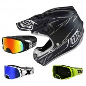 Troy Lee Designs SE4 CM Pinstripe MIPS Crosshelm schwarz grau mit TWO-X Rocket Crossbrille