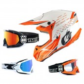 Oneal 5Series Crosshelm Trace weiss orange mit TWO-X Race Brille