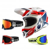 Oneal 3Series Crosshelm Stardust weiss blau rot mit TWO-X Race Brille