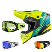 Oneal 8Series Nano Crosshelm blau mit TWO-X Rocket Crossbrille