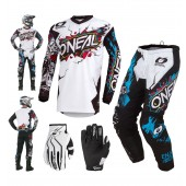 Oneal Element Villain Combo weiss Crosshose Jersey Handschuhe