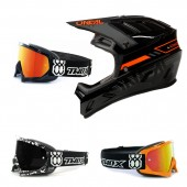 Oneal Backflip MTB Helm Eclipse schwarz rot mit TWO-X Race Brille