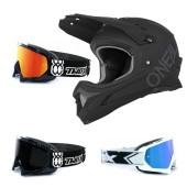 Oneal Sonus Flat MTB Helm schwarz mit TWO-X Race Brille