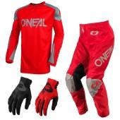 Oneal Matrix Ridewear Combo 21 rot Crosshose Jersey Handschuhe