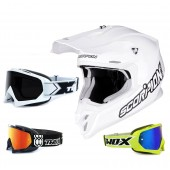 Scorpion VX-16 Air Crosshelm Solid weiss inkl. TWO-X Race Crossbrille