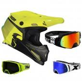 Thor Sector Crosshelm Racer neon gelb inkl. TWO-X Rocket Crossbrille