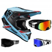 Thor Sector MIPS Crosshelm Split blau schwarz inkl. TWO-X Rocket Crossbrille