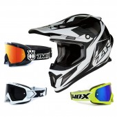 Z1R Rise Crosshelm Ascend schwarz weiss mit TWO-X Race Brille