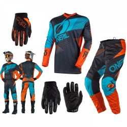 Oneal Element Factor Combo grau orange blau Hose Shirt Handschuhe