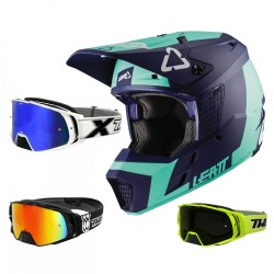 Leatt GPX 3.5 Crosshelm blau mit TWO-X Rocket Crossbrille