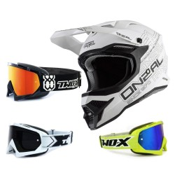 Oneal 3Series Crosshelm Flat 2.0 weiss mit TWO-X Race Brille