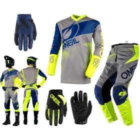 Oneal Element Factor Combo grau blau neon Hose Shirt Handschuhe