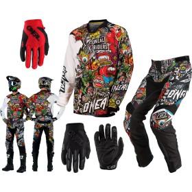 Oneal Mayhem Crank Combo weiss rot Hose Shirt Handschuhe