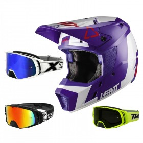 Leatt GPX 3.5 Crosshelm blau weiss mit TWO-X Rocket Crossbrille