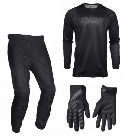 Thor Pulse Combo Blackout 22 schwarz Hose Jersey Handschuhe