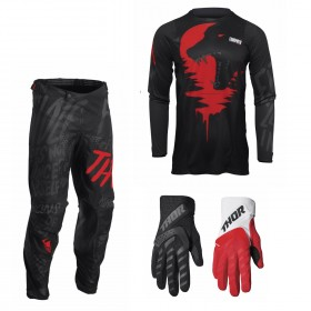 Thor Pulse Combo Counting schwarz rot Hose Jersey Handschuhe