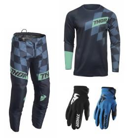Thor Sector Combo Birdrock blau Hose Jersey Handschuhe