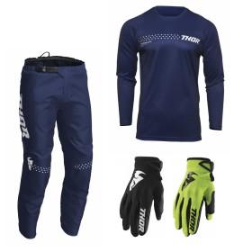 Thor Sector Combo Minimal blau Hose Jersey Handschuhe